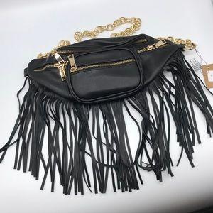 Bags - BLACK DESIGNER CHIC FRINGE FANNY PACK W/GOLD CHAIN